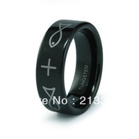 FREE SHIPPING USA WHOLESALES CHEAP PRICE BRAZIL RUSSIA CANADA UK HOT SALE 8MM PIPED ENGRAVED BLACK BRIDAL TUNGSTEN WEDDING RING