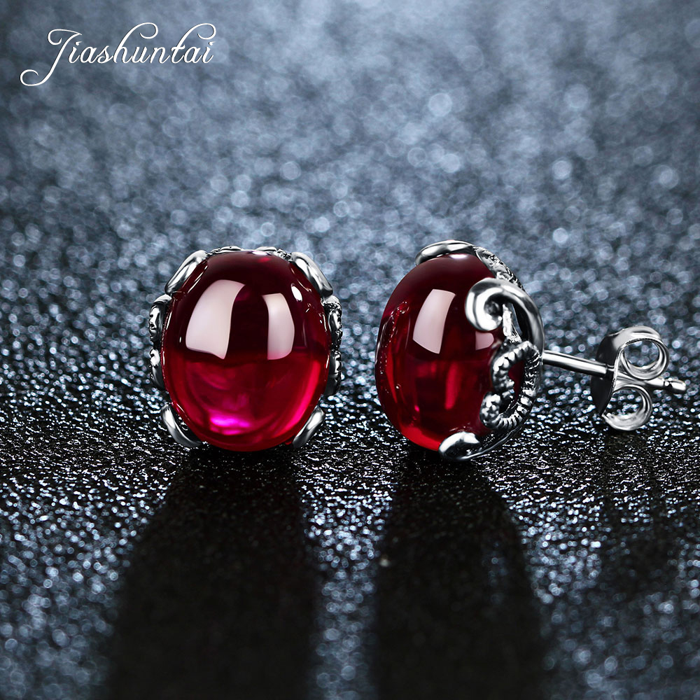 JIASHUNTAI 100% 925 Sterling Silver Earring For Women Retro Natural Stones Stud Earrings Vintage Royal Thai Silver Jewelry Gifts