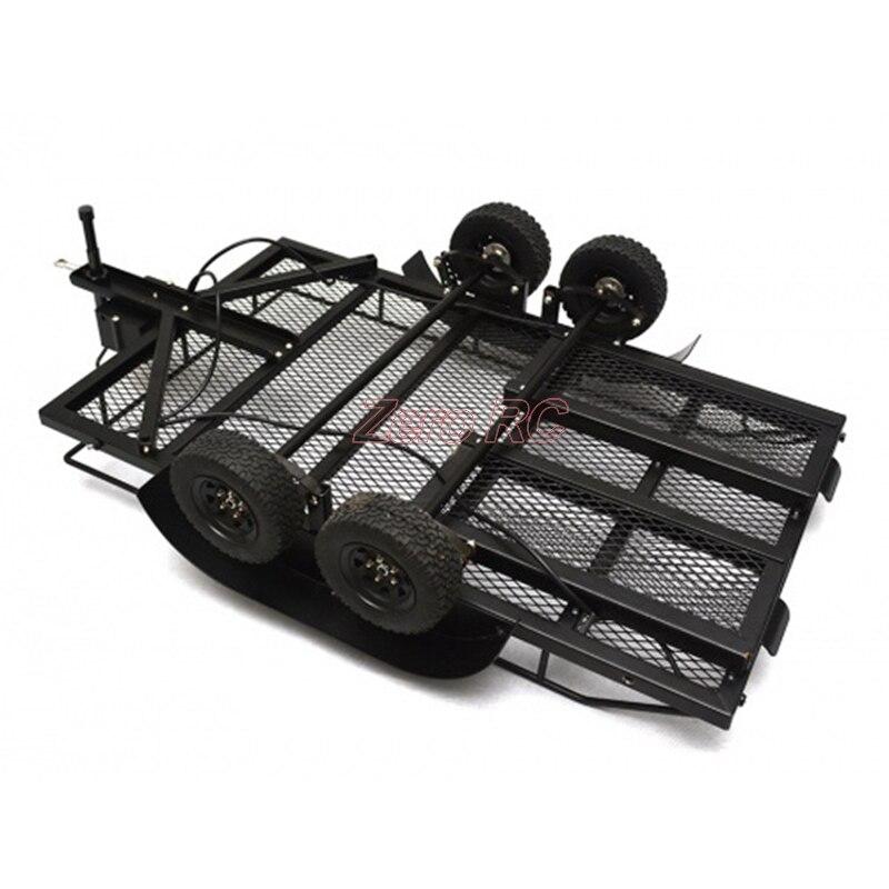 Сверхмощный все металлические автомобильный прицеп эвакуатор бункера автомобиля игрушки с подвеской лист фары колесо для 1:10 RC Рок грузови
