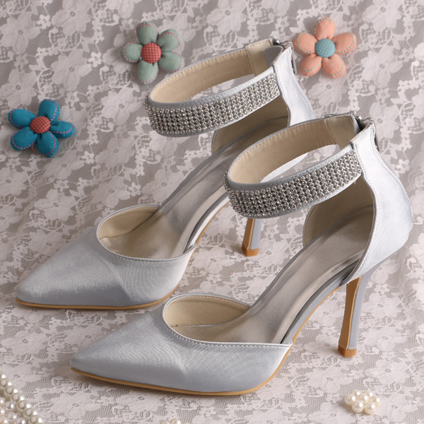Wedopus Crystal Strap Custom Handmade Ivory Satin Pointed Toe Bridal Shoes-in  Women s Pumps from Shoes on Aliexpress.com  30eb13d73288