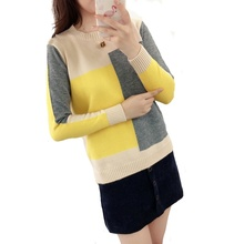 Contrast Color Winter Sweater Women 2018 Christmas Long Sleeve Jumper Women Sweater and Pullover Knitted Sweater Female Pull недорого