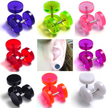 2pcs Hot Fashion Round Earring Fake Ear Plug Stud Neon Acrylic 8mm Taper Cheater Expander Body Piercing Free Shipping