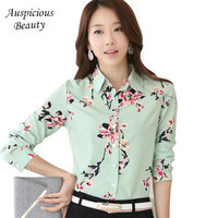 2018 New Brand Spring Women Floral Printed Blouse Shirt Woman Fashion Long Sleeve Square Collar Blouse