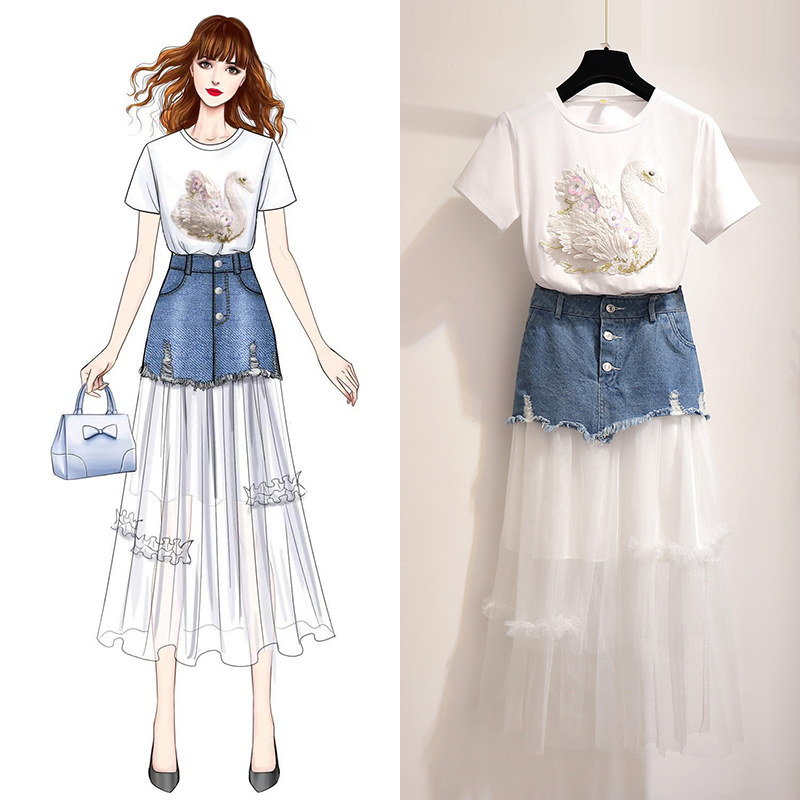 New Casual Sweet Swan Embroidered T Shirt Denim Skirt Two Piece Set Summer Female Korean Denim
