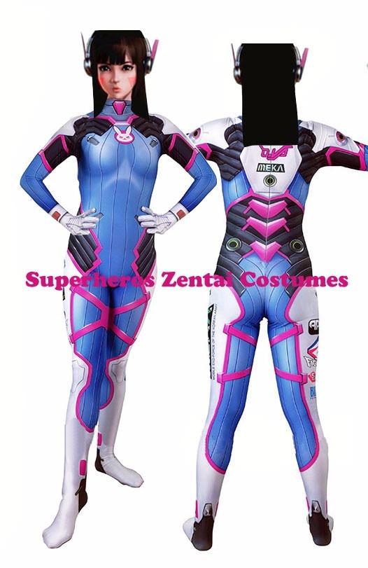 Overwatch OW Game D Va DVA Costume Halloween Cosplay Zentai Suit Women Jumpsuit