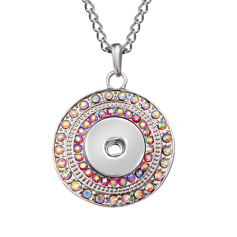 New Elegant Silver Color Rhinestone Snaps Necklace & Pendants Fit DIY 18MM Snap Buttons Jewelry With 72cm Chain
