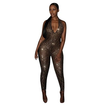 Deep V Neck Sequin Nightclub Wear Women Outfits Sexy Bodycon Jumpsuits Шорты