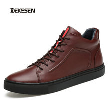 DEKESEN 2016 Fashion Black shoes men women size 36-47 Genuine leather men winter boots ankle lace up men boots winter men shoes