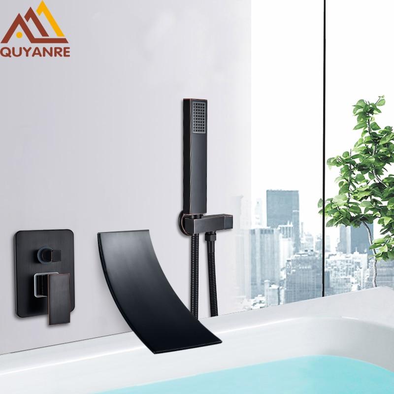 Quyanre Black Chrome Waterfall Bathtub Shower Faucet Wall Mount Hot Cold Water Mixer Bath Shower Faucet