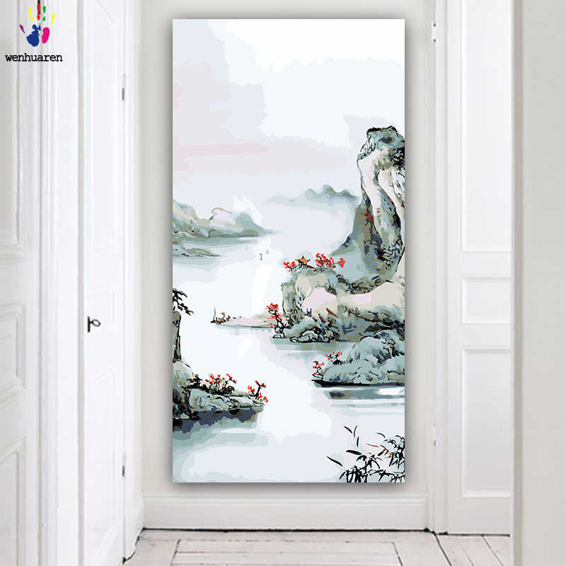 DIY colorings pictures by numbers with colors Landscape birds Chinese landscape picture drawing painting by numbers framed Home