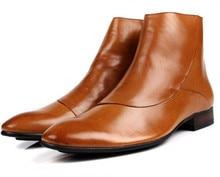 Мода коричневый/черный мужские ботинки платья обувь из натуральной кожи мотоциклов сапоги мужские случайные зимняя обувь