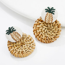 AENSOA Fashion Fruit Embroidery Pineapple Drop Earrings Women Boho Wooden Straw Weave Rattan Vine Braid Pendant Earrings Jewelry(China)