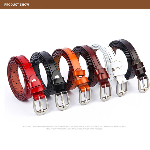 Genuine Leather Wonen's Belt Casual Alloy Pin Buckle Hollow Belt Fashion Designer Women Leather Strap Punching Belt Female H029