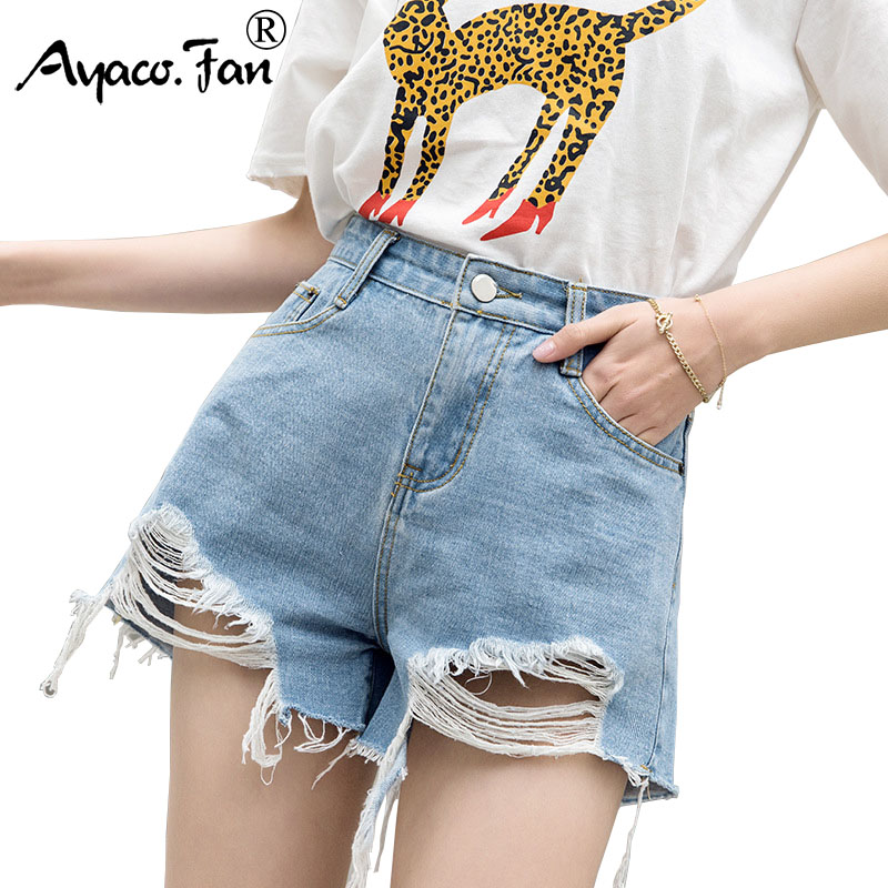 Hot Shorts Women 2020 Summer New Sexy Hole Ripped Embroidery Fur-lined Leg-openings Denim Shorts Plus Size Lady Short Jeans