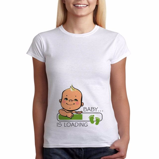 78d64a749 Womens Funny Pregnancy Maternity T-shirt Baby Is Loading Perfect Gift White  New T Shirt Women Summer Female Fantastic