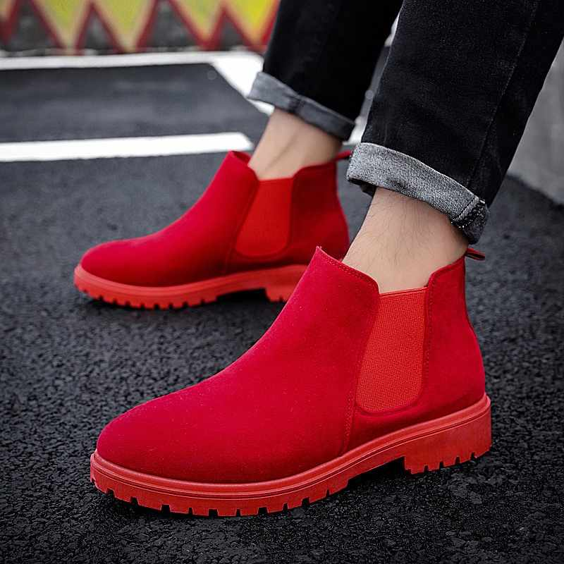 Chelsea Boots Men Suede Leather Luxury Style Ankle Boots Original Male Autumn Winter High Top Casual Shoes Western Botas