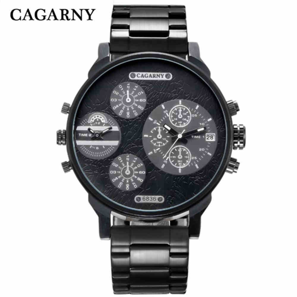 CAGARNY Casual Brand Men Stainless steel strap Watch Military Quartz Watch Sports Date Clock Multiple time zone Watch PENGNATATE brand oulm men watch stainless steel strap japan movt quartz watch multiple time zone militar sports watches relogios masculino