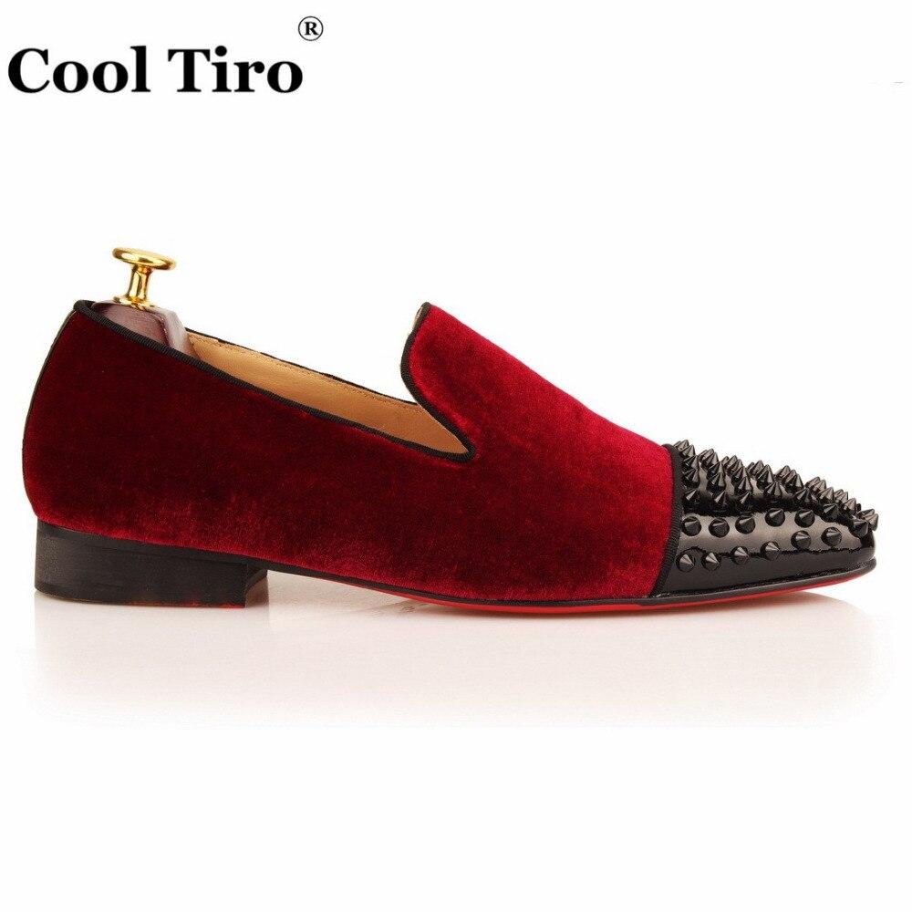 Hecho Prom A Mano Cool Mocasines Vestido De on Rojo Negro Terciopelo Homecoming Pico Zapatos Remache Hombres Casuales Mlae Slip Fumar Tiro Fiesta O77PFqw0WA