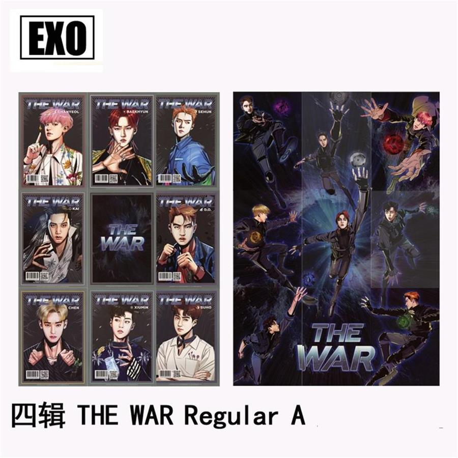 Kpop EXO The War Regular A Paper Photo Card Album Self Made Collective Photocard Poster 9pcs/set