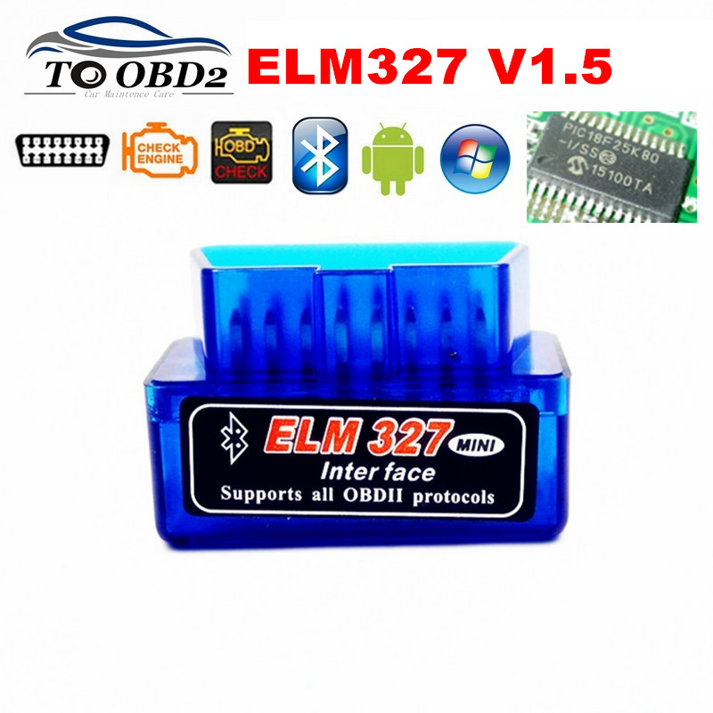 High Quality <font><b>PIC18F25K80</b></font> Super MINI V1.5 Bluetooth ELM327 OBD Code Reader Diagnostic Scanner ELM 327 <font><b>1.5</b></font> Hardware Multi-Language image