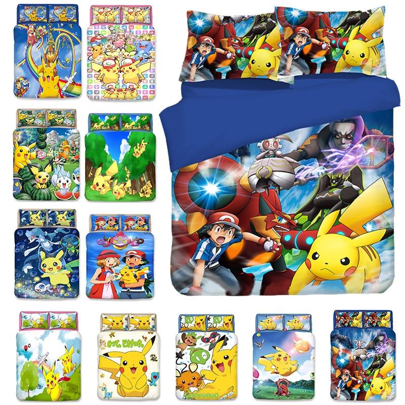 Pikachu Pokemon 3D Bedding Set Duvet Covers Pillowcases Cartoon Anime Pokemon Comforter Bedding Sets Bedclothes Bed Linen