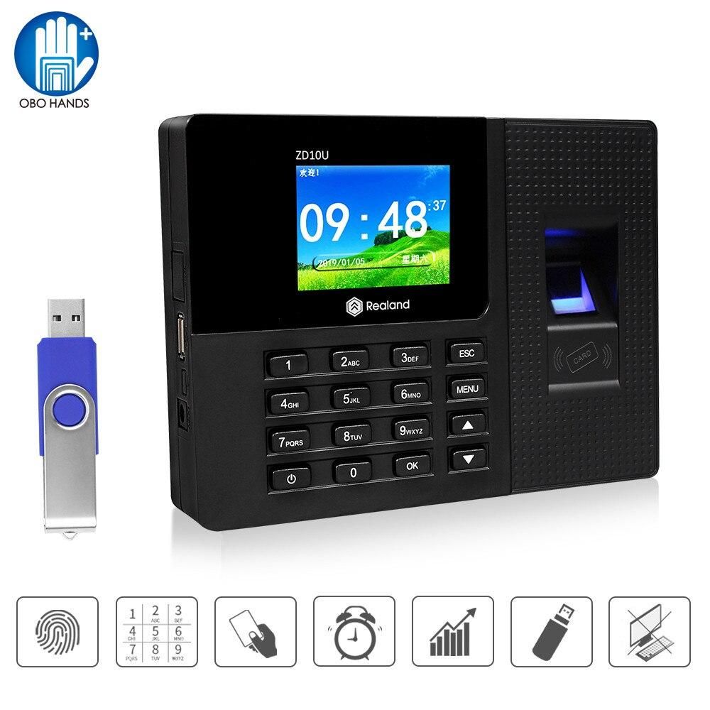 Realand 2.8inch RFID Biometric Fingerprint Attendance System Machine Time Clock Employee Check-in Recorder Password Device USB