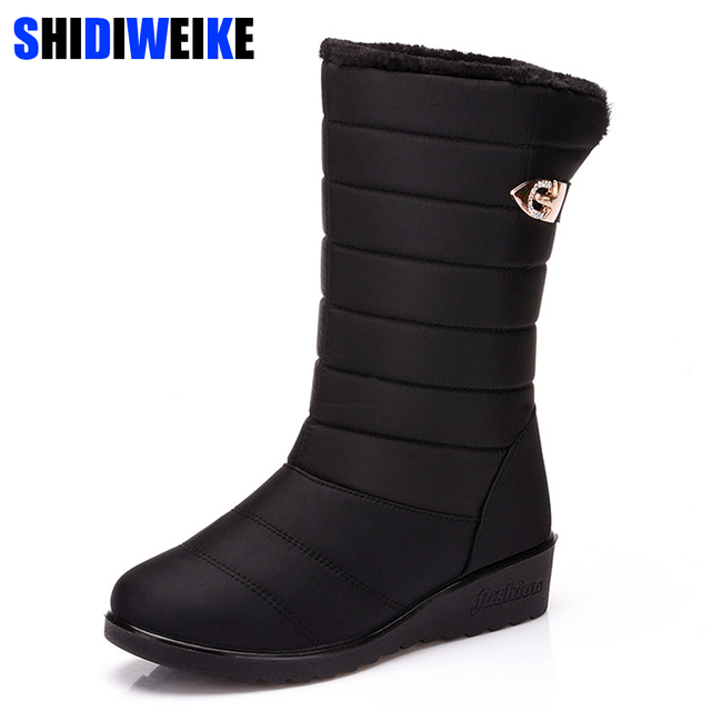 9e4d33a3714 2019 New Women Boots Winter Women Mid-Calf Boots Waterproof Warm Women Snow  Boots Women Shoes female Warm Fur Botas Mujer m386