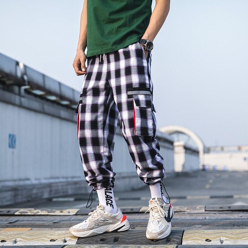 Tsingyi Japan Style Black White Plaid Cargo Pants Men Women Couple Streetwear Hip Hop Ankle Length Pockets Grid Pattern Joggers in Cargo Pants from Men 39 s Clothing