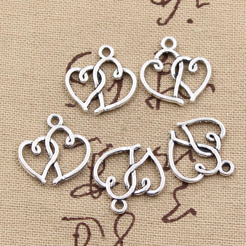 12pcs Charms Double Heart 19x19mm Antique Making Pendant Fit,Vintage Tibetan Silver Bronze,DIY Handmade Jewelry