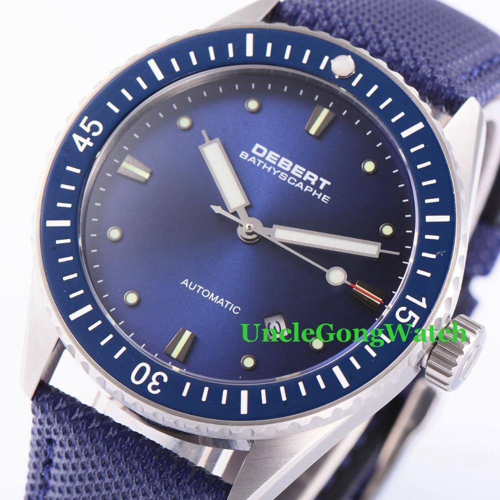 купить Debert 43mm Blue Dial Rotatable Ceramic Bezel Watches Sapphire Glass Orologio Miyota Movement Mens Automatic Relojes DT7032SLL по цене 9620.73 рублей