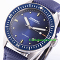 Debert 43mm blue dial rotativo cerâmica bezel relógios vidro de safira movimento miyota mens orologio automático relojes dt7032sll