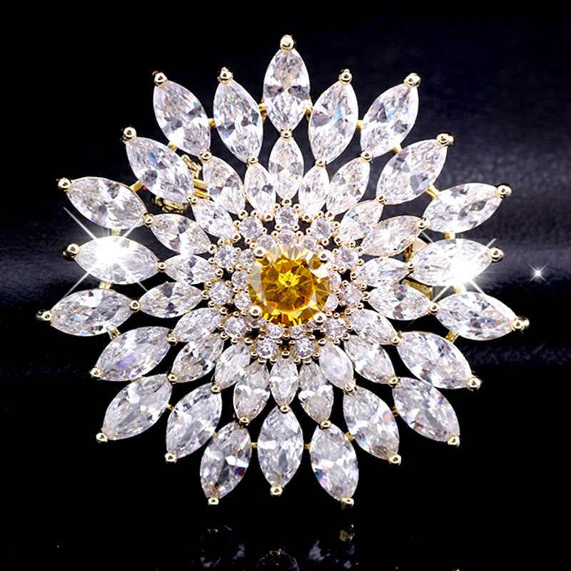 Besar Putih Bros Bulat Kristal Berlian Imitasi Bros Pernikahan Perhiasan Bling Kue Bros Dekorasi Dress Ikat Pinggang Bros