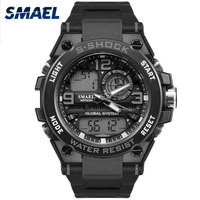 New Fashion Casual Male Watch SMAEL Brand Gray Color Dual Display LED 50M Waterproof Dive