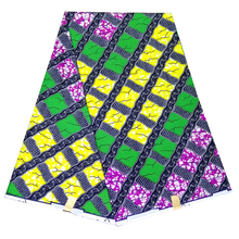 Polyester Newest African Print Fabric, Green&Yellow&Purple Ankara Material,Tribal print dressmaking fabric 6 yards whole LBLD-83