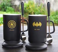 뚜껑 숟가락 세라믹 컵 창조적 인 세라믹 커피 아침 식사 우유 물 잔 도자기 컵 영화 문자 로고