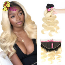 Facebeauty 1B/613 Ombre Blonde Kleur Peruaanse Body Wave 2/3/4 Human Remy Hair Extension Bundels met 13X6 Kant Frontale Sluiting(China)