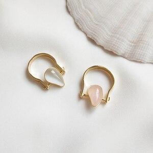 Image 2 - 925 Sterling Zilver Natuurlijke Edelsteen Gold Teardrop Roze Rozenkwarts Halfedelsteen Ringen Amerikaanse Maat 8 #