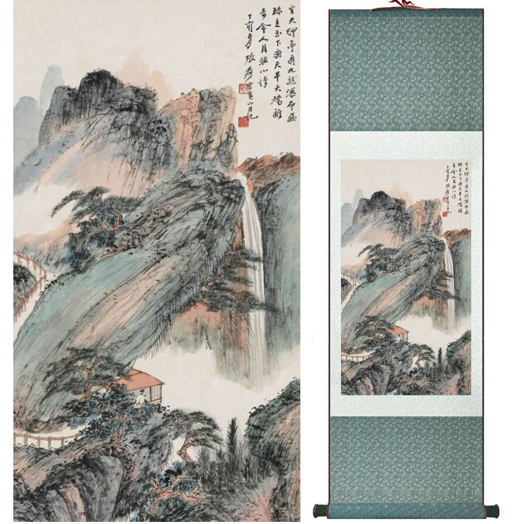 Mountain and River painting Chinese scroll painting landscape art painting home decoration painting040201