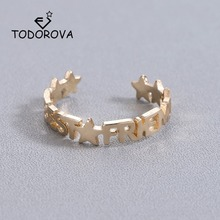 Купить с кэшбэком Todorova Free Size Gold Color Star Rings for Women Jewellery Letter Best Friend Rings Stainless Steel Anillos Mujer