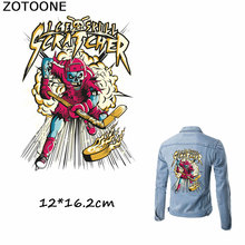 ZOTOONE Cool Biker Patches Motorcycle Skull Hockey Athlete Iron on Heat Transfers for Clothes Decoration DIY Accessory E
