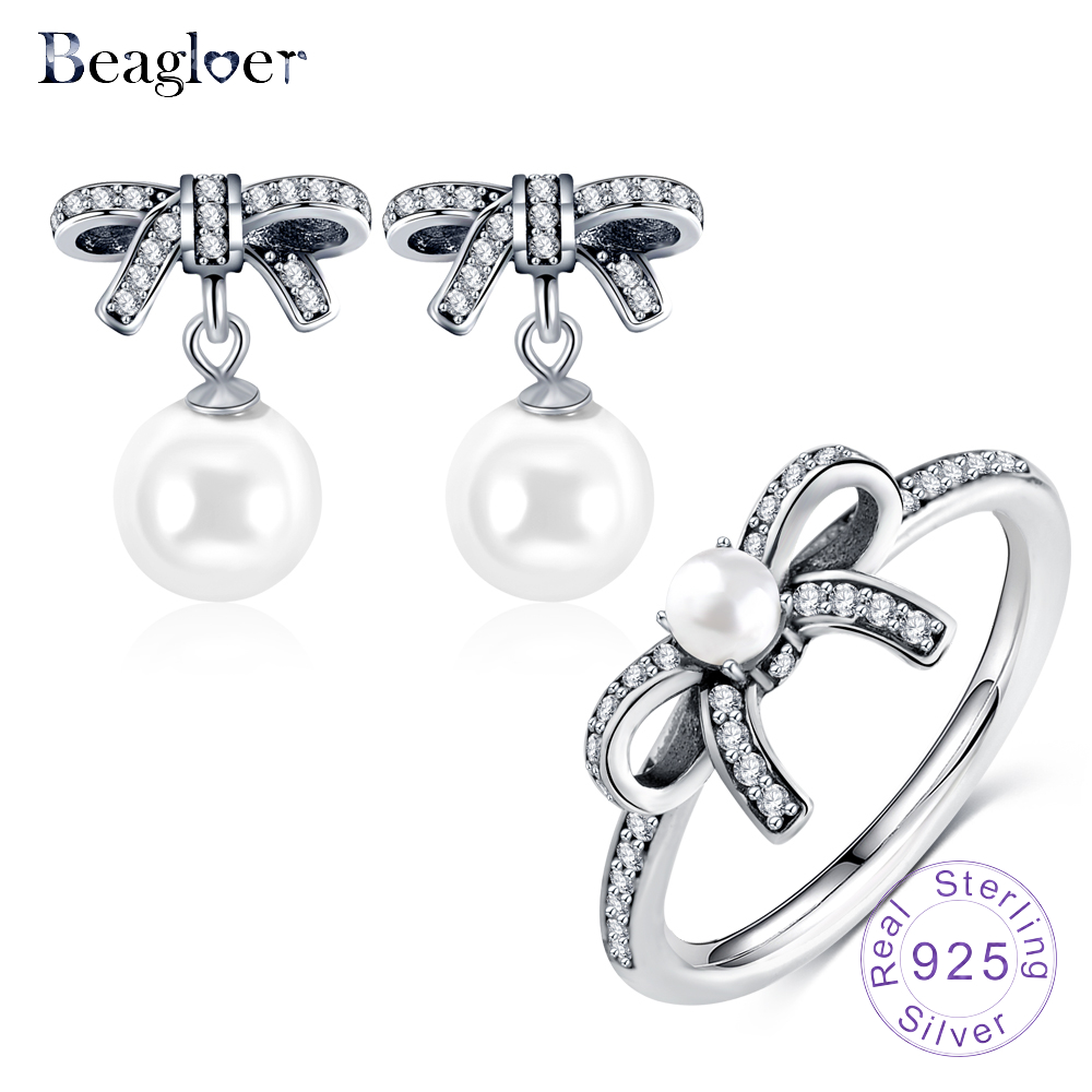 Beagloer 100% 925 Sterling Silver Graceful Bow Knot & White Pearl Drop  Earrings Ring For