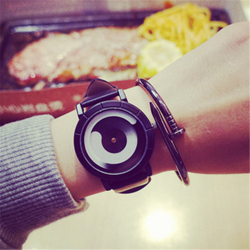 Creative Design Wristwatch Unique Concept Inner Hour Outside Minutes Fashion Soft Leather Quartz Watches for Men and Women 2018 fashion unique creative futuristic men quartz wristwatch distinctive popular mathematics design boys male student watches