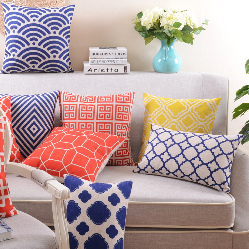 Home Decor Cushions hot vintage home decor cotton linen pillow case sofa waist throw cushion cover Fashion Cotton Linen Pillow Cover Decorative Throw Pillows Home Decor Almofadas Sofa Pillowcase Blue Cube Cushion Cover In Cushion Cover From Home Garden