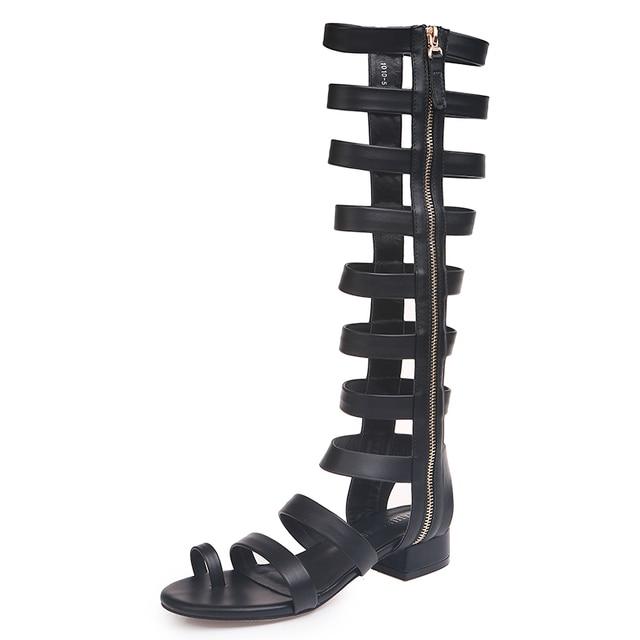 2019 Sandalias de tacón a la moda para mujer, zapatos de verano, sandalias de playa con Clip para mujer, sandalias de gladiador con hebilla de rodilla gruesa