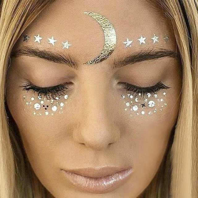 New Gold Face Temporary Tattoo Waterproof Blocked Freckles Makeup Stickers Eye Decal
