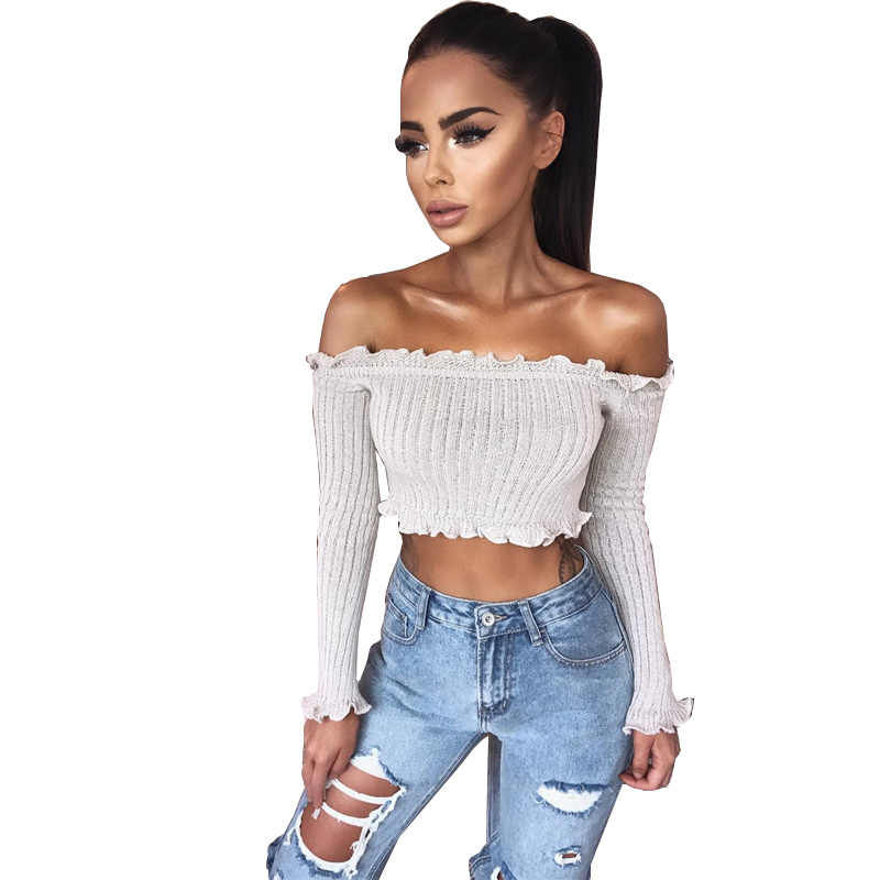 c987a24aabc 2018 New Tank Tops Sexy Off Shoulder Ruffles Ruched Knit Crop Top Women  Short Tees Casual
