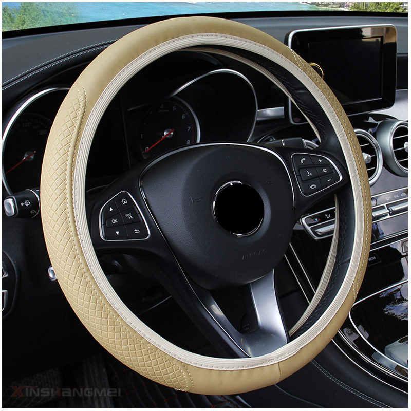 Автомобильный 38 см руль искусственная кожа Крышка для Volkswagen VW B6 Jetta Mk5 MK6 любых автомобилей Phaeton 4,2 EOS 3,2 V6