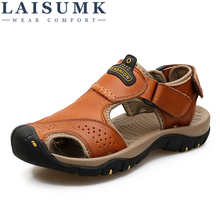 Plus size Men Sandals Genuine Leather Summer shoes Men Casual Shoes Outdoor Beach Sandals Flip Flops Men Slippers все цены