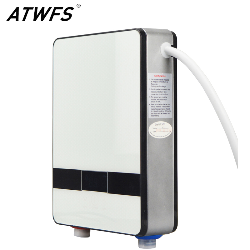 ATWFS Instantaneous Water Heater 6500w Induction Heater Thermostat Instant Hot Shower Water Electric Tankless Shower Heaters atwfs continuous instant tankless water heater electric flowing instantaneous shower hot water heater bathroom free sink shower