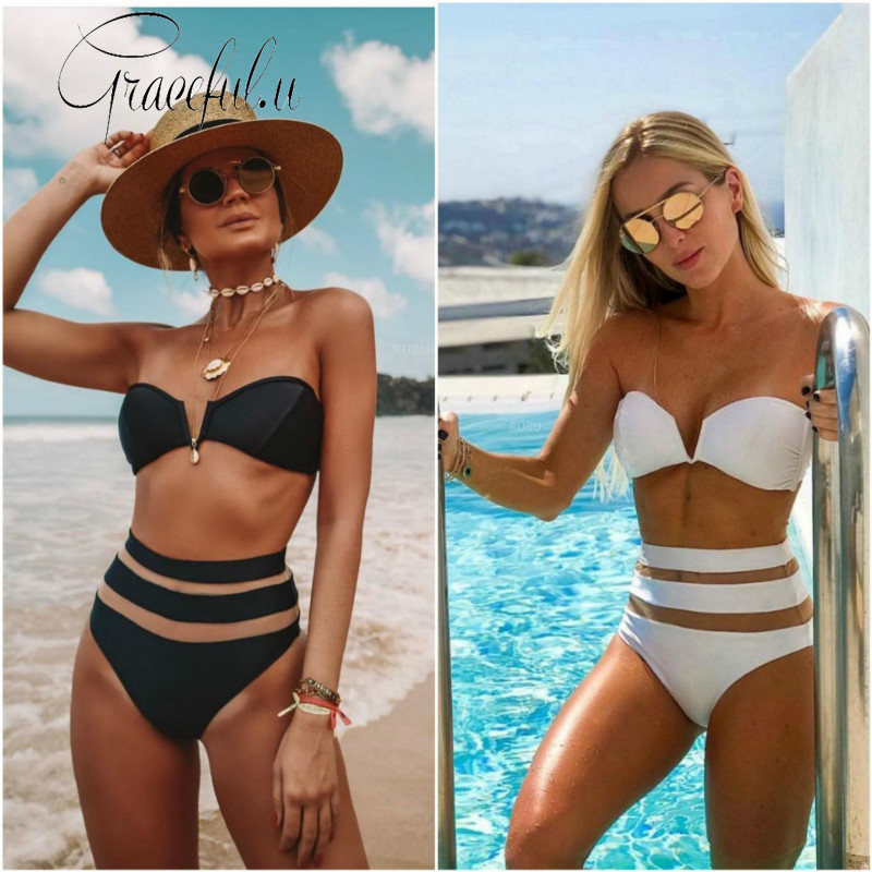 <font><b>2019</b></font> <font><b>Swimwear</b></font> <font><b>Women</b></font> <font><b>Sexy</b></font> Solid <font><b>High</b></font> <font><b>Waist</b></font> Patchwork <font><b>Push</b></font> Up Padded <font><b>Swimwear</b></font> Swimming Suit Bathing Suit Beach Wear <font><b>Bikini</b></font> Set image